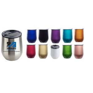 12 oz Double Wall Insulated Travel Tumbler Mug w/Clear Lid